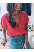 Fashion Solid Color Denim Short Sleeve Blouse