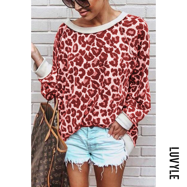 Red Leopard Print Long Sleeve T-Shirt Red Leopard Print Long Sleeve T-Shirt