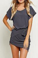 Round Neck Batwing Sleeve Asymmetric Hem Bodycon Dress