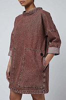 Casual solid color pocket round neck loose denim top