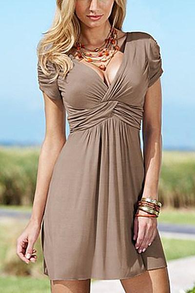 V-neck short sleeve solid color dress
