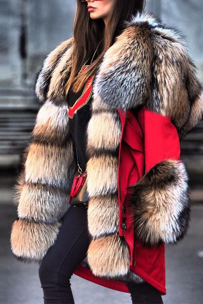 Autumn And Winter Fur Collar High Imitation Fur Overcoat