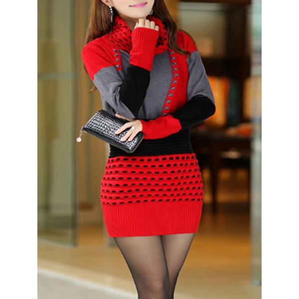 Red High Neck Color Block Hollow Out Cotton Bodycon Dresses Red High Neck Color Block Hollow Out Cotton Bodycon Dresses