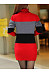 High Neck  Color Block Hollow Out  Cotton Bodycon Dresses