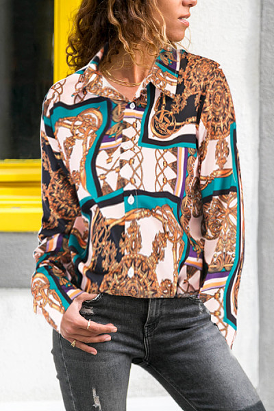 Turn Down Collar  Abstract Print  Blouses