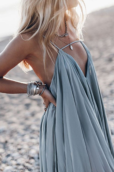 Spaghetti Strap  Back Hole  Plain  Sleeveless Maxi Dresses