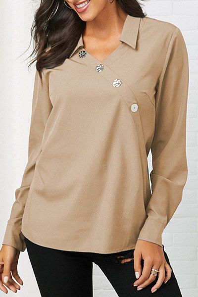 A Lapel Decorative Buttons Plain Blouse