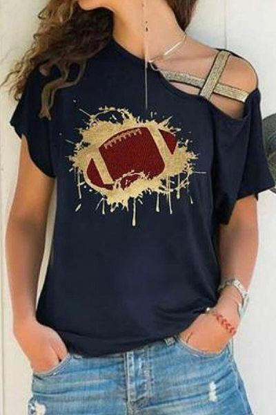 Irregular Collar Printed Casual T-Shirt