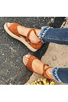 Plain  Flat  Velvet  Peep Toe  Casual Date Flat Sandals