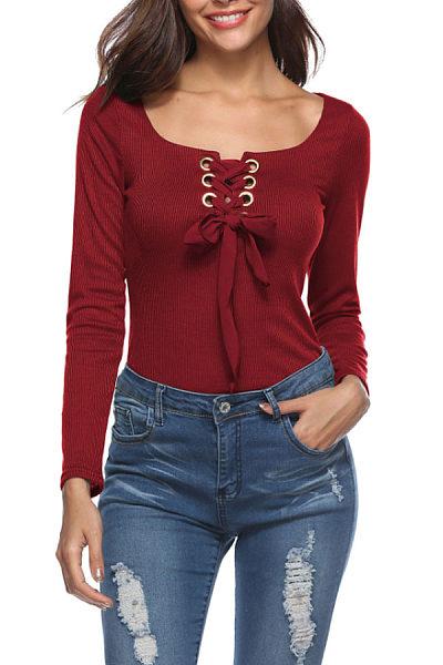 Round Neck  Lace Up  Plain T-Shirts