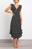 V Neck  Flounce  Dot  Extra Short Sleeve Maxi Dresses
