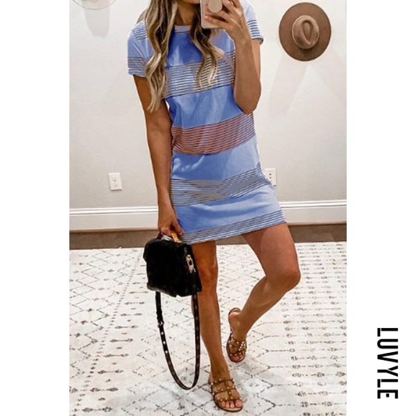 Blue Round Neck Stripes Short Sleeve Casual Dresses Blue Round Neck Stripes Short Sleeve Casual Dresses