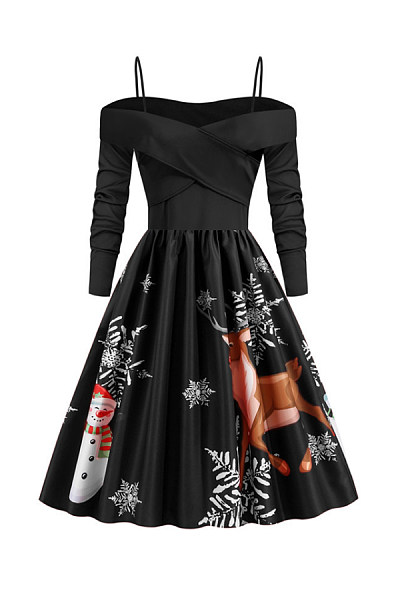 Christmas Printed Sling Party Dress