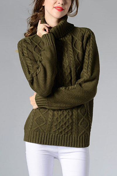 High Neck Knit Plain Sweaters