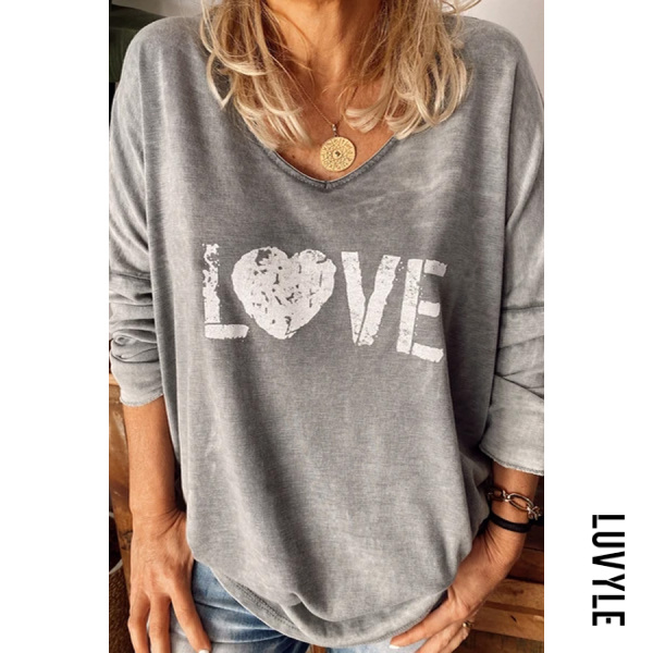 V Neck Long Sleeve Letters T-shirt