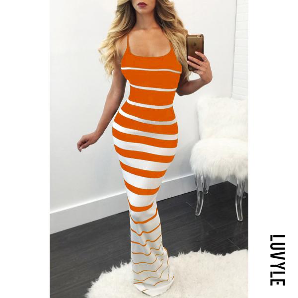 Collarless Stripes Sleeveless Bodycon Dresses