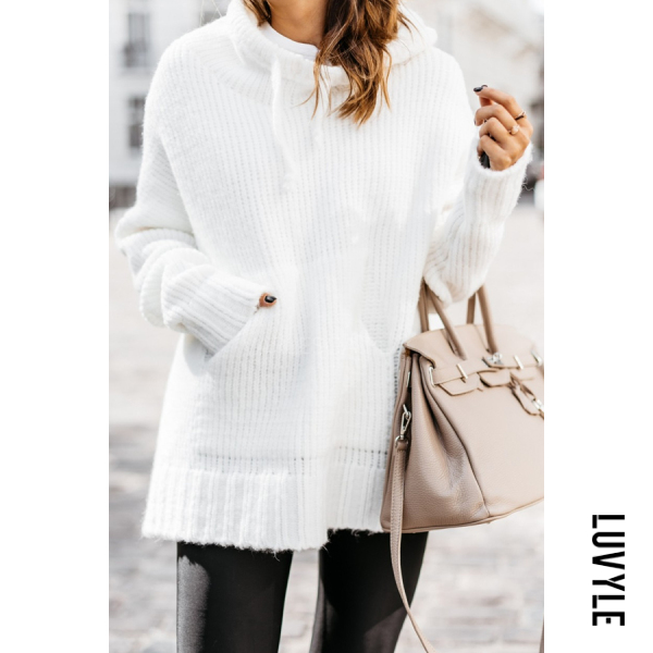 Hooded Long Sleeve Plain Sweater
