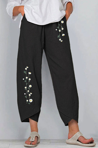 Cotton And Linen Printed Elastic Waist Pants