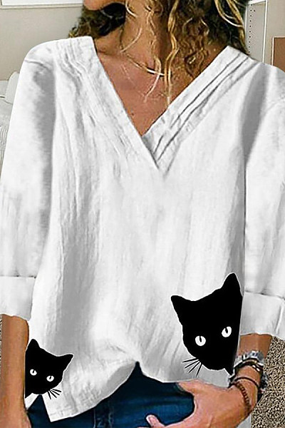 Fashion cat head print V-neck long-sleeved shirt