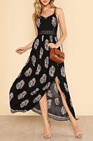 Spaghetti Strap  Slit  Printed  Sleeveless Maxi Dresses