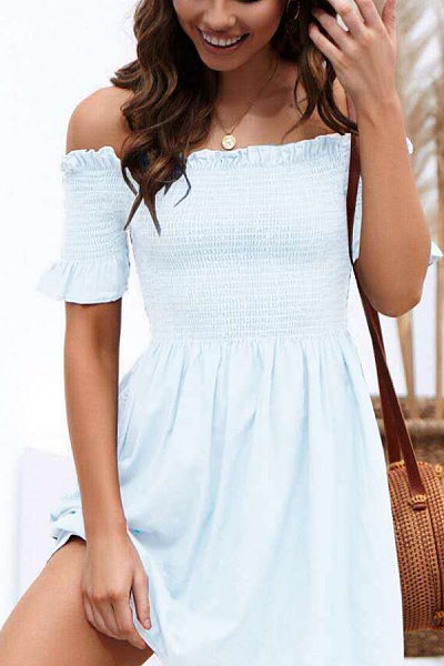 Word Collar Plain Casual Dresses