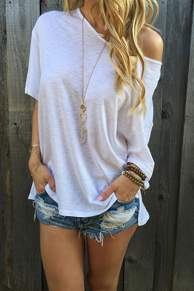 White One Shoulder  Plain T-Shirts