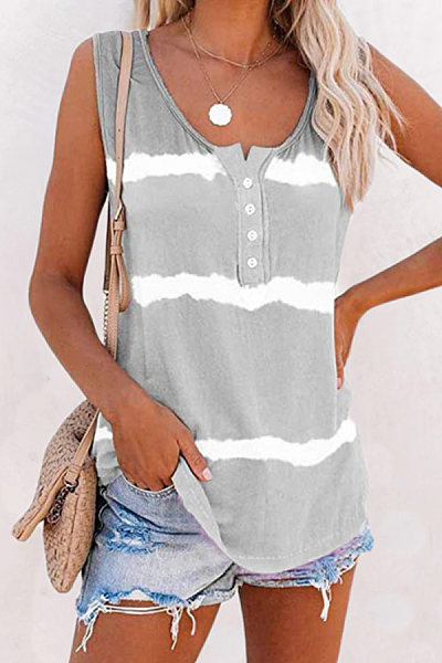 Womens tie-dye printed buttoned vest T-shirt