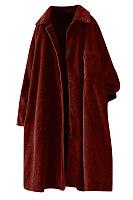 Fashion pure color lapel corduroy overcoat