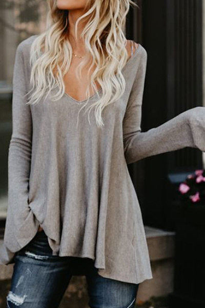 Casual  Curved Hem  Plain  Bell Sleeve  Long Sleeve T-Shirts