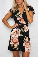 Deep V Neck  Drawstring  Belt  Floral Printed  Short Sleeve Casual Dresses