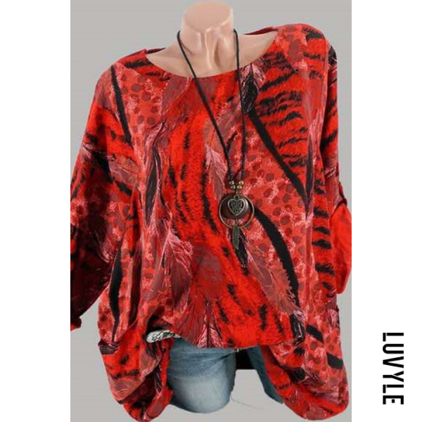 Red Casual Round Neck Print Long Sleeve Ladies T-Shirt Red Casual Round Neck Print Long Sleeve Ladies T-Shirt