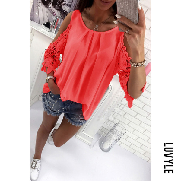 Watermelon Red Round Neck Bowknot Patchwork Plain T-Shirts Watermelon Red Round Neck Bowknot Patchwork Plain T-Shirts