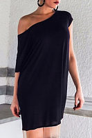 Open Shoulder  Plain Casual Dresses
