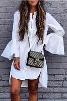 Asymmetric Hem Single Breasted  Plain  Bell Sleeve Casual Dresses