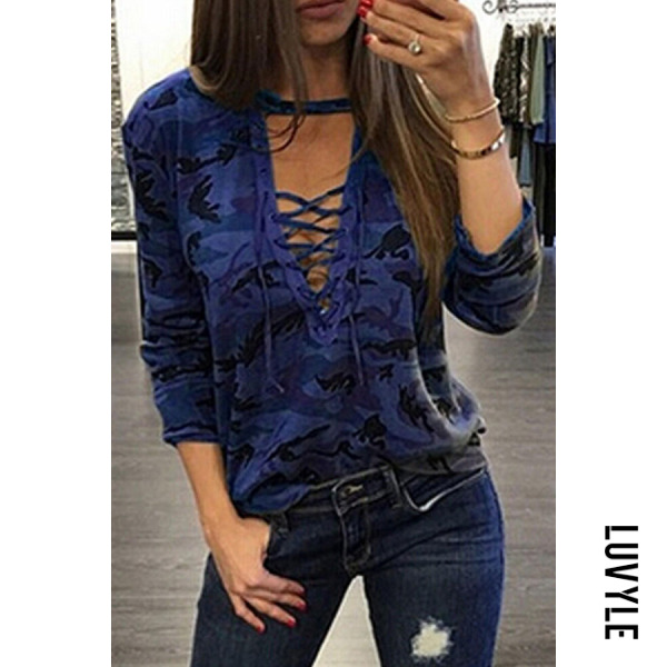 Blue Deep V Neck Lace Up Camouflage T-Shirts Blue Deep V Neck Lace Up Camouflage T-Shirts