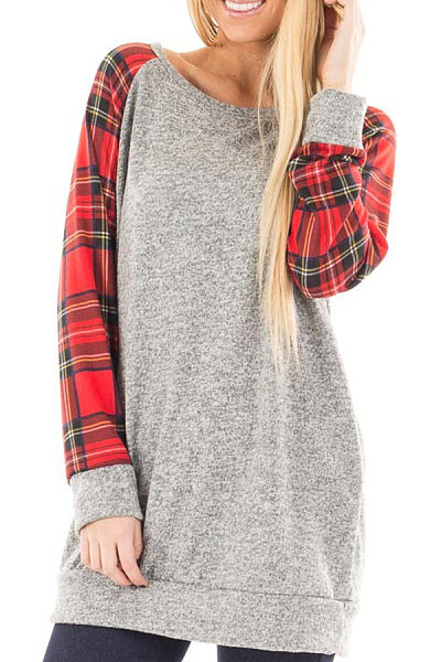 Round Neck  Checkered Color Block T-Shirts