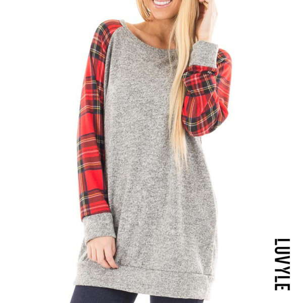 Gray Round Neck Checkered Color Block T-Shirts Gray Round Neck Checkered Color Block T-Shirts