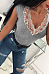 Deep V Neck  Lace Patchwork T-Shirts