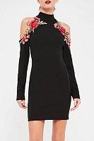 High Neck Patchwork Bodycon Dress