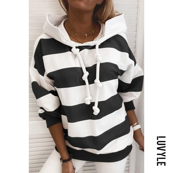 Black Striped Printed Loose Hoody Black Striped Printed Loose Hoody