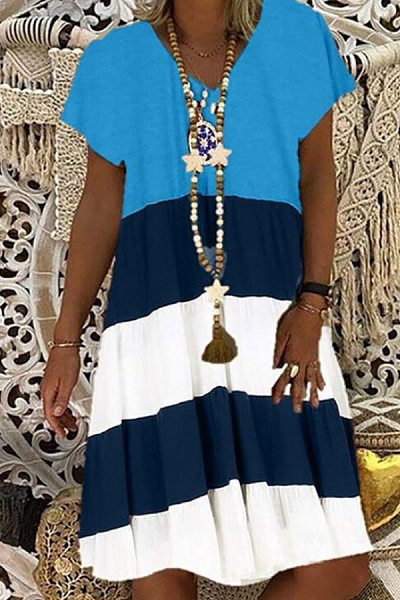 Casual V Neck Pure Colour Splicing Dress