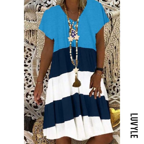 Light Blue Casual V Neck Pure Colour Splicing Dress Light Blue Casual V Neck Pure Colour Splicing Dress