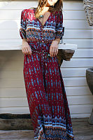 V Neck  Drawstring Single Breasted  Bohemian Printed Maxi Dresses