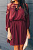 Round Neck  Patchwork Plain  Long Sleeve Casual Dresses