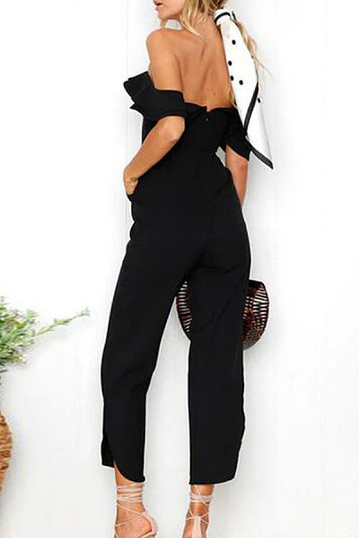 Strapless  Backless  Plain  Sleeveless Jumpsuits