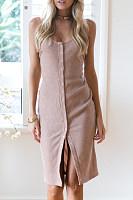Backless Single Button Plain Bodycon Dresses
