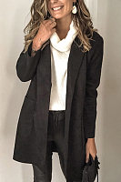 Fold-Over Collar Plain Casual Outerwear