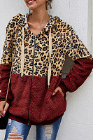 Plush Leopard-print Hooded Jacket