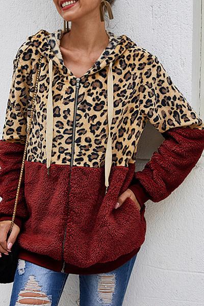 Plush Leopard-print Hooded Jacket