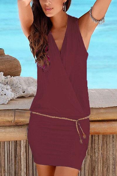 Surplice  Belt  Plain Bodycon Dresses